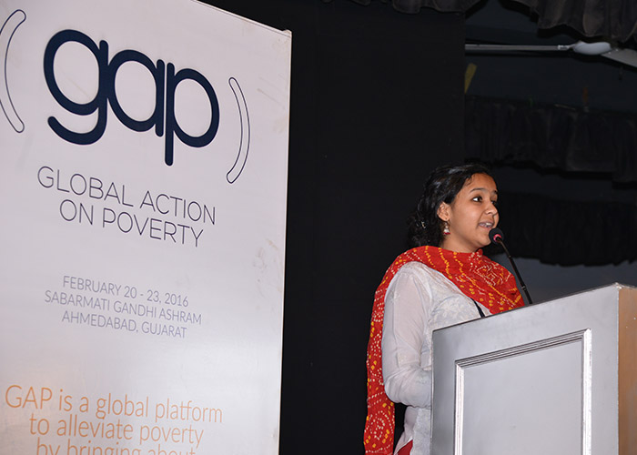 Changemaker at a Global Action on Poverty event